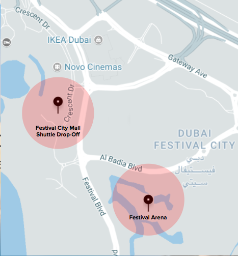 pick-up drop-off festival city arena