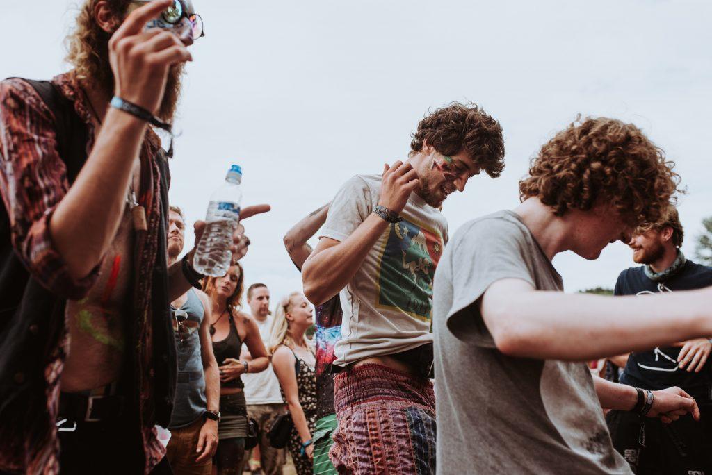 Festival goers dancing
