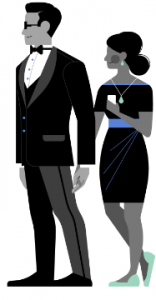 An illustration of a couple heading to a holiday party.