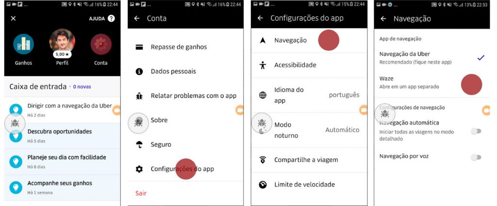 escolher navegador app Uber