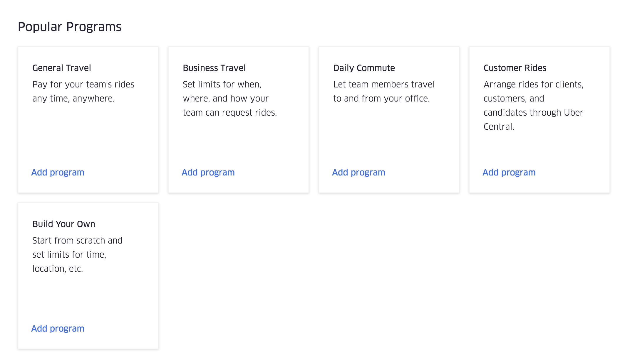 A screenshot of the Popular Programs section of the Programs tab in the Uber for Business dashboard.