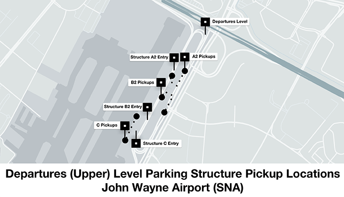 Each terminal at SNA has its own designated parking structure.