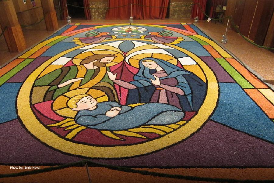 Una de las alfombras de Semana Santa en San Salvador
