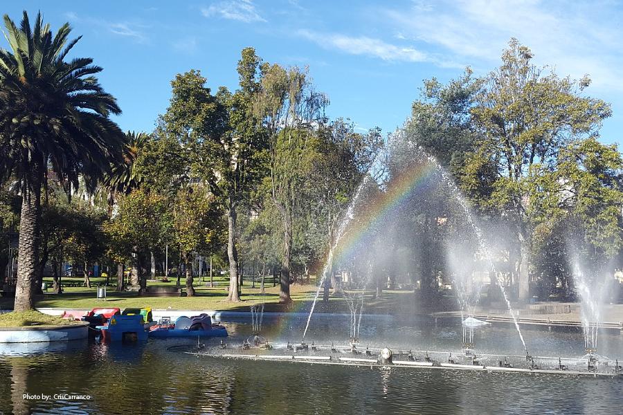 Pasear en bote en el parque La Alameda en Quito
