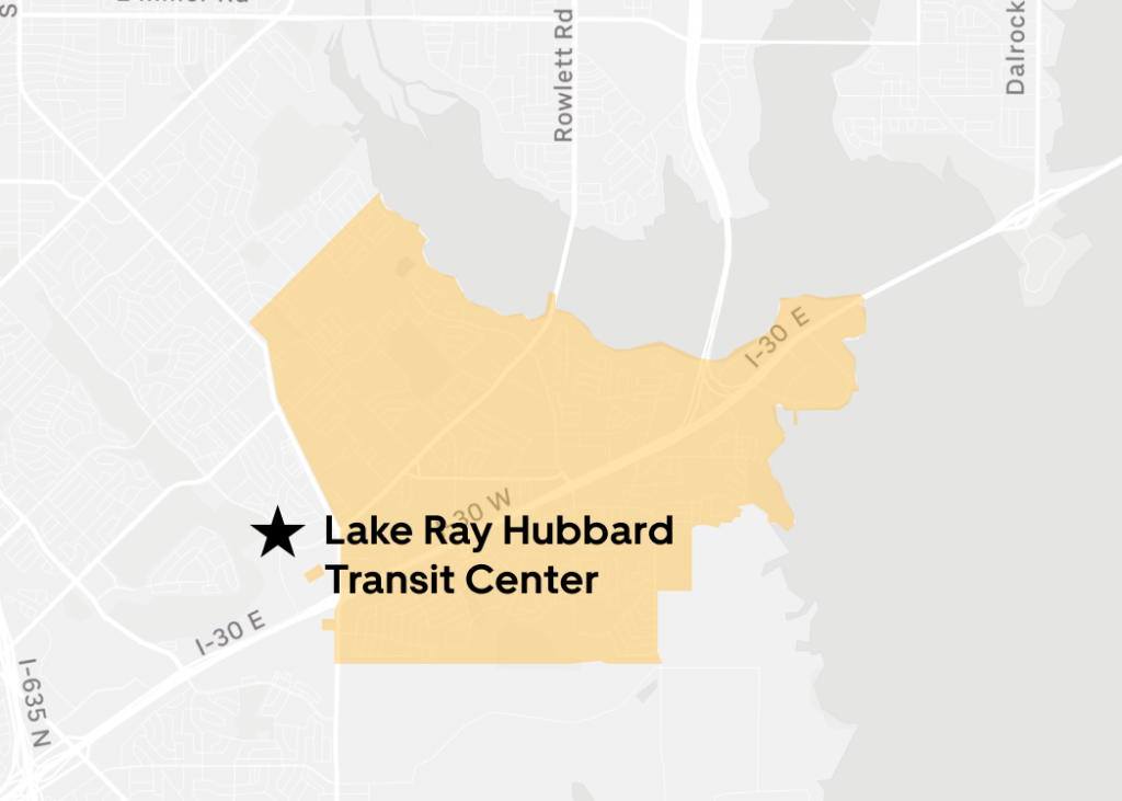 Rides available to or from Lake Ray Hubbard Transit Center.
