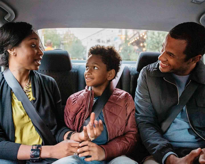 Family in Uber ride