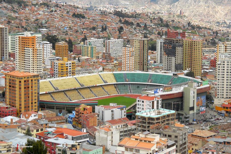 Foto aérea del Estadio Hernando Siles