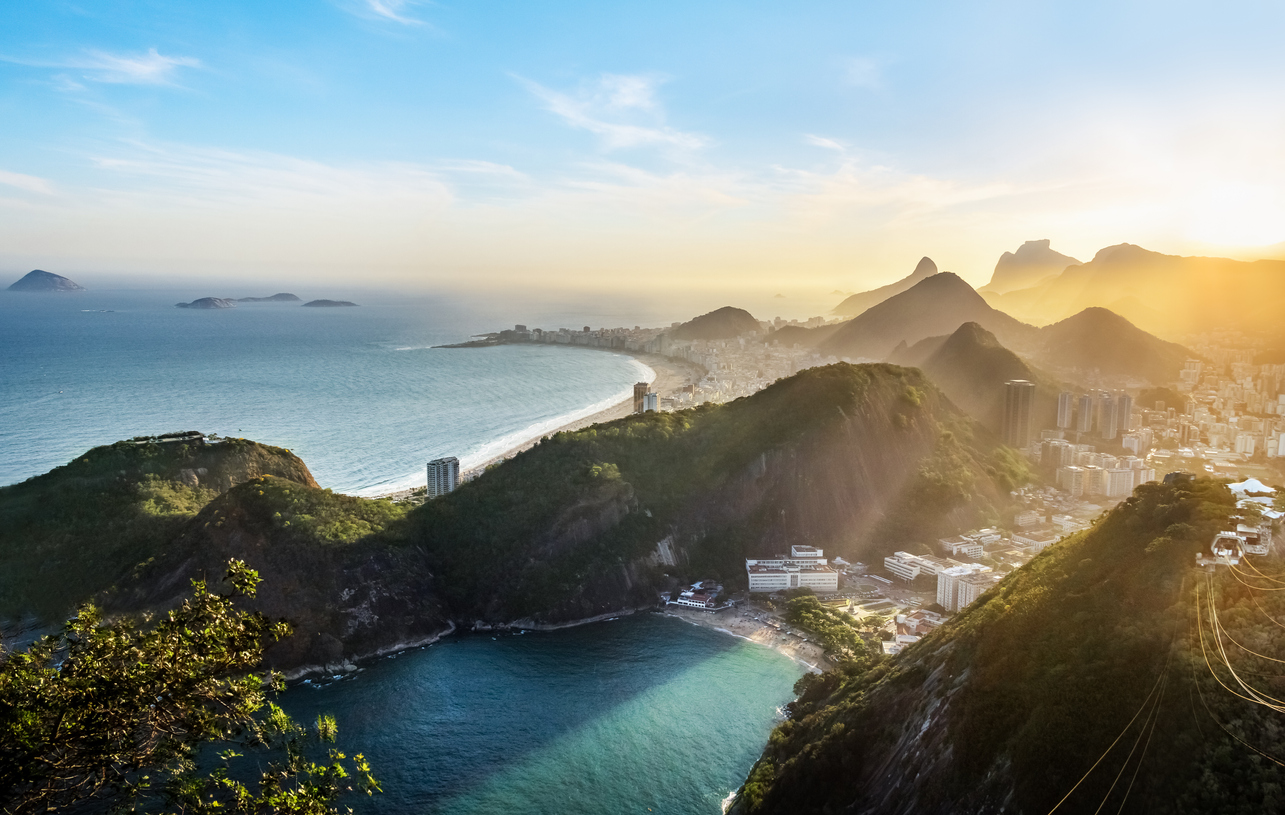 Foto aérea da praia de Copacabana