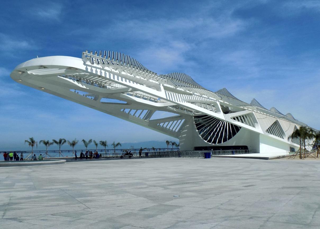 Arquitetura do Museu do Amanhã, no Rio de Janeiro, Brasil.