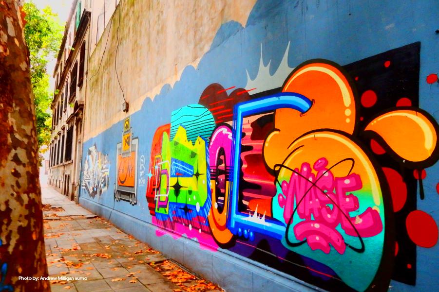 Uno de los graffitis coloridos en Buenos Aires
