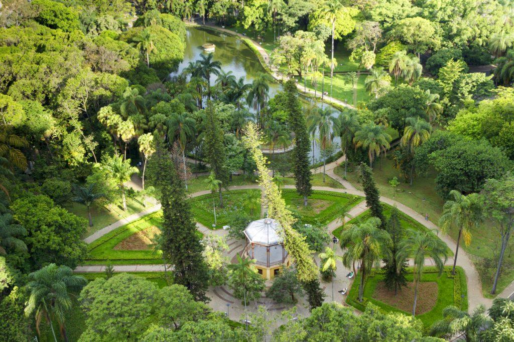 Vista aérea do Parque Municipal de Belo Horizonte, Brasil