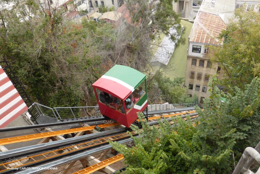 Funicular subiendo los cerros, una de las mayores atracciones de Valparaíso