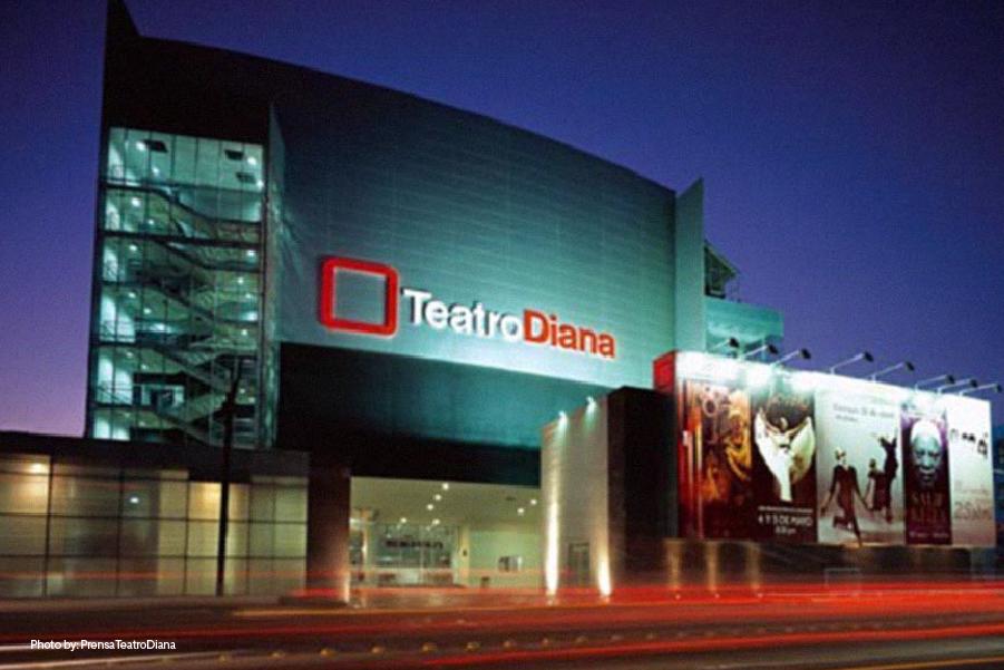 Vista desde la calle del Teatro Diana en Guadalajara