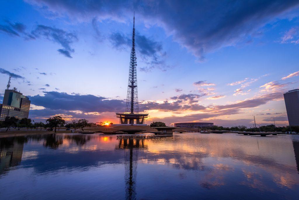 Pôr do sol na Torre de TV em Brasília