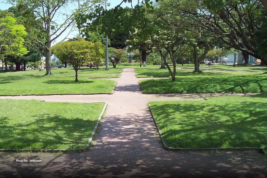 Parque en Pereira con sombra de árboles