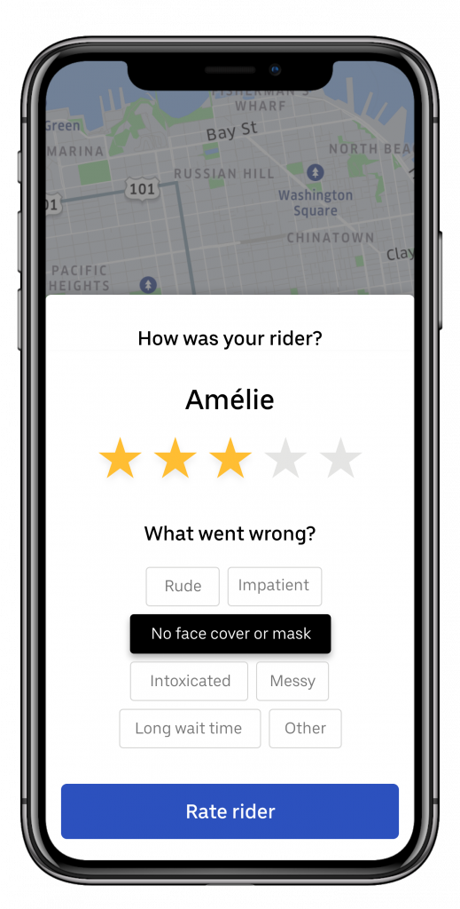 Driver rating in-app