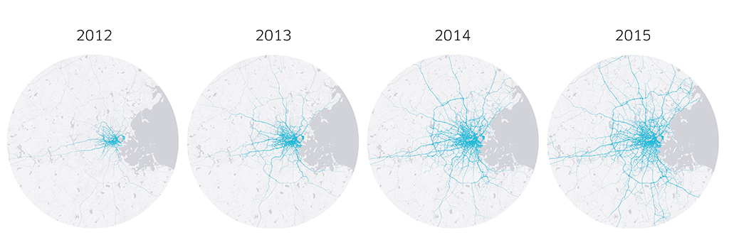 Data from the 2nd Wednesday of October in each year listed. Completed trips only. Points have been jittered to protect user privacy. Lines are an approximation of actual travel route.