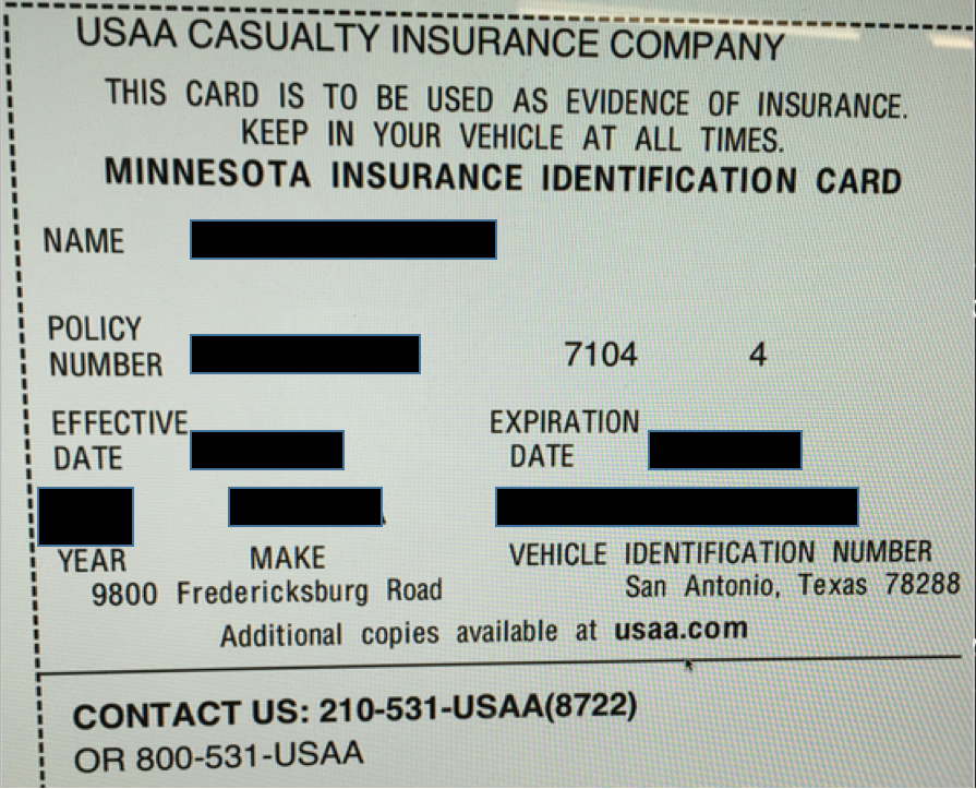 Usaa Insurance Card Template - Insurance