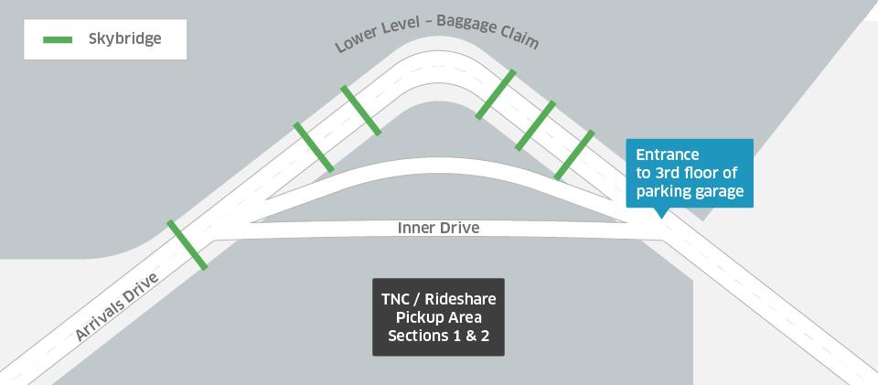 Sea-Tac Airport uberX and uberPOOL pickup zone